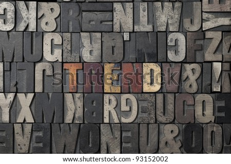 The word Trend written out in old letterpress blocks. - stock photo