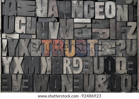 The word Trust written out in old letterpress blocks. - stock photo