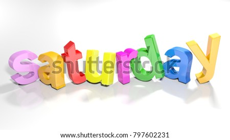 The word tuesday written with colorful 3D letters standing, slightly bent, on a white surface - 3D rendering illustration