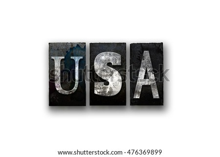 "The word ""USA"" written in vintage, dirty, ink stained letterpress type and isolated on a white background."