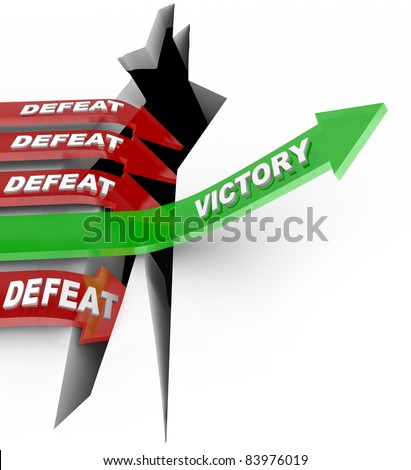 The word Victory rising an upward arrow over a challenge to win the competition while several other arrows fall into the failure of defeat - stock photo