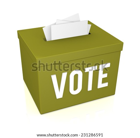 The word Vote on a ballot box isolated on white background
