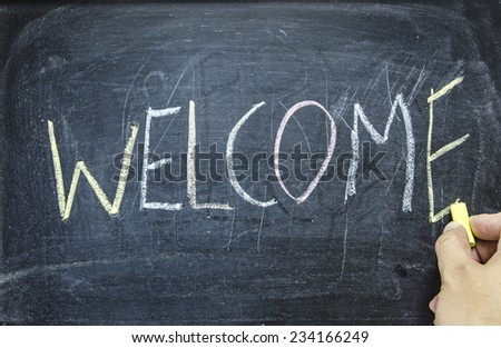 "The word ""WELCOME"" written on blackboard  - stock photo"