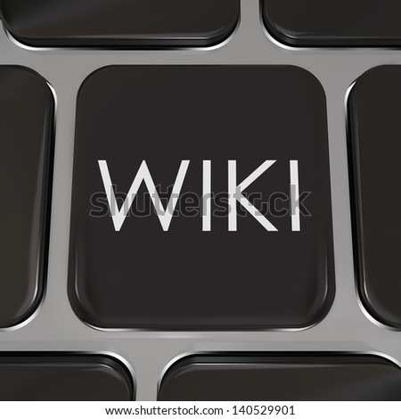 The word Wiki on a computer keyboard to illustrate a website or internet page where users can edit or write entries of information on subjects they have expertise in - stock photo