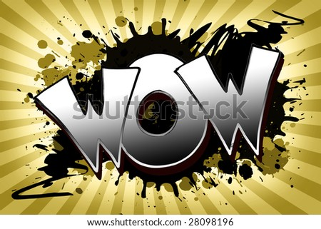 The word wow as a grungy colorfully painting - stock photo