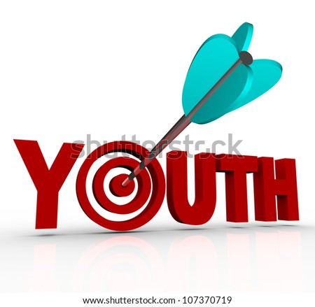 The word Youth with an arrow in a bulls-eye in place of the letter O, symbolizing the goal of staying young and stopping the aging process to have eternal energy, vitality and life - stock photo