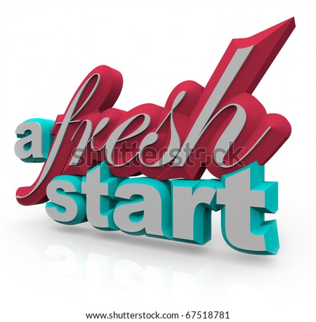 The words A Fresh Start in 3D on a white background - stock photo