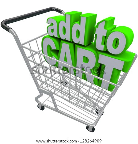 The words Add to Cart in a shopping basket to symbolize ecommerce and browsing or buying from an online store or shop - stock photo