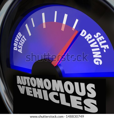 The words Autonomous Vehicles on an automobile gauge with the needle rising past Driver Assist to reach Self-Driving to illustrate the coming of new cars that drive themselves - stock photo