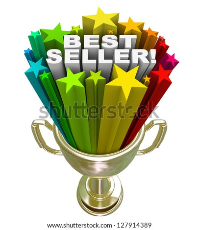 The words Best Seller in a burst of colorful stars in a golden trophy to symbolize the top selling product or item in a store or an award for the top salesperson - stock photo