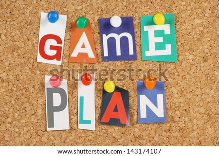 Words game plan cut out magazine stock photo 143174107 shutterstock publicscrutiny Choice Image