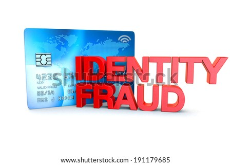 the words identity fraud witha generic credit card on a white background - stock photo