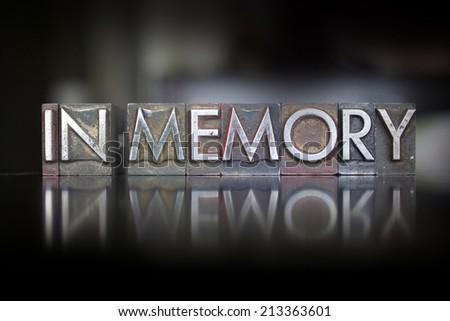 The words In Memory written in vintage letterpress type - stock photo