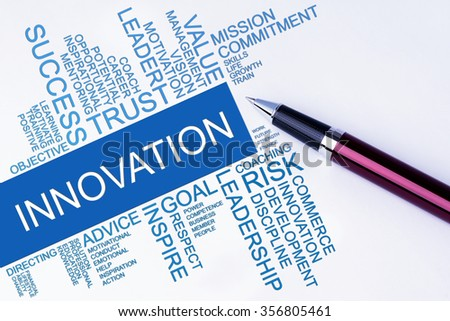 The words Innovation text cloud with a pen on isolated white background. Business concept text cloud.