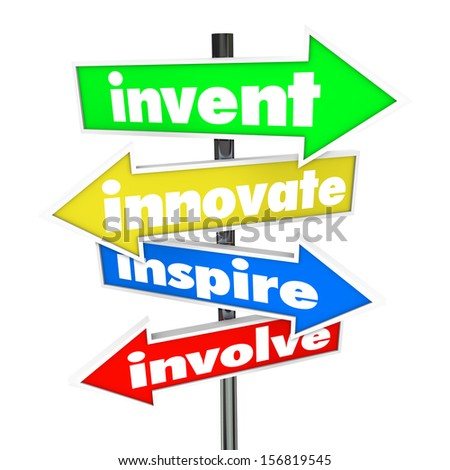 The words Invent, Innovate, Inspire, Involve on colorful road or street signs pointing you in a direction for new ideas and innovation - stock photo