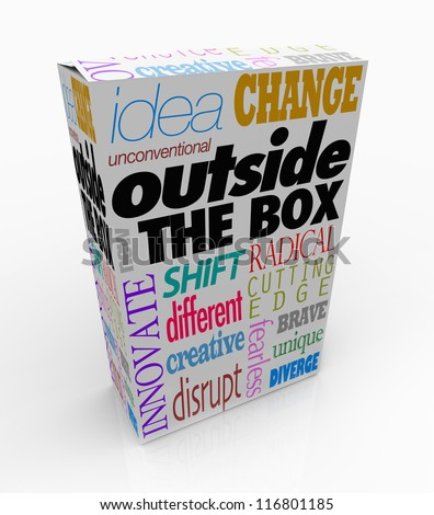 The words Outside the Box on a product package to symbolize a new idea, innovative creation or an unconventional, unique solution to a problem - stock photo