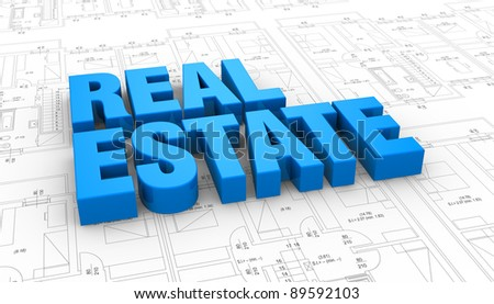 the words: real estate placed over a plan project (3d render) - stock photo
