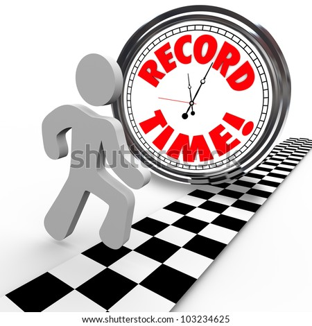 The words Record Time on a clock with a person reaching the finish line to achieve or accomplish a new personal best timing in completing a race or objective