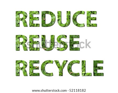 The words reduce, reuse, recycle are written composing of elements of earth - stock photo