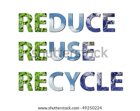 The words reduce, reuse, recycle are written composing of elements of earth, water and air. Water picture from NASA. - stock photo