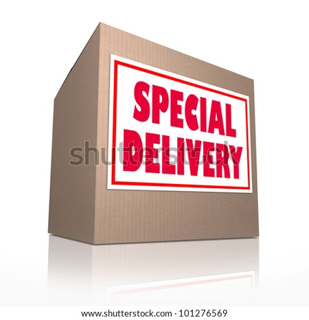 The words Special Delivery on a cardboard box sent through the mail containing merchandise from shopping or a gift or present for a special occasion - stock photo