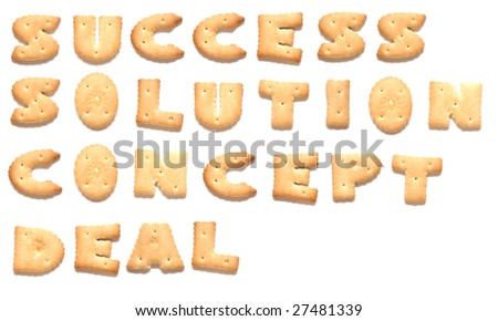 The words: success, solution, concept, deal made of cookies