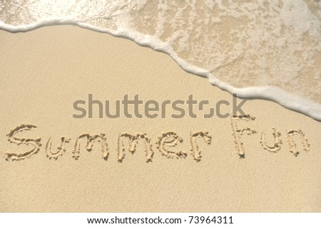 The Words Summer Fun Written in the Sand on a Beach - stock photo