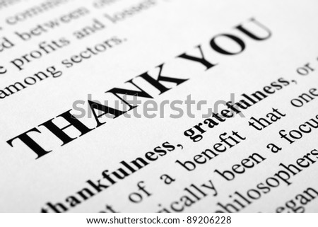 The words thank you shot with artistic selective focus. - stock photo