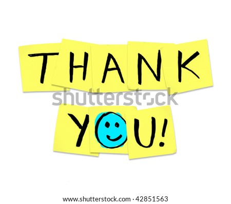 The words Thank You written on yellow sticky notes - stock photo