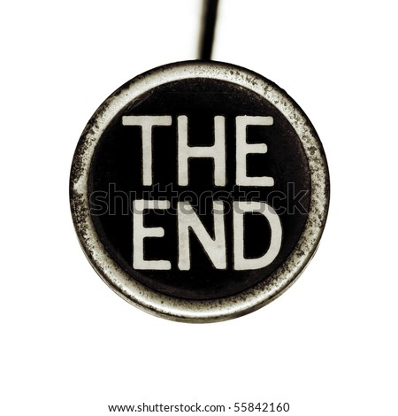 """The words """"THE END"""" spelled out on an old typewriter key.  Lots of dust and scratches. - stock photo"""