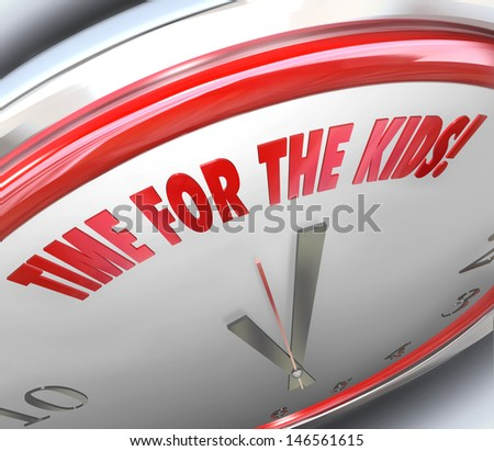The words Time for Kids on a clock to illustrate a special moment for spending time with children during play, recess or recreation