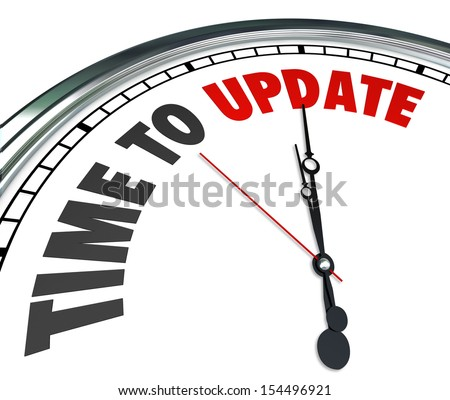 The words Time to Update on a clock to illustrate the need to improve, renovate, renew or revitalize in a home or building or in software, programs or apps that need the latest code - stock photo