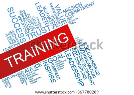 The words Training text cloud with copy space for text on isolated white background. Business concept text cloud. - stock photo