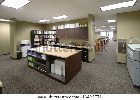 The work floor in a large corporate office of an architecture firm - stock photo