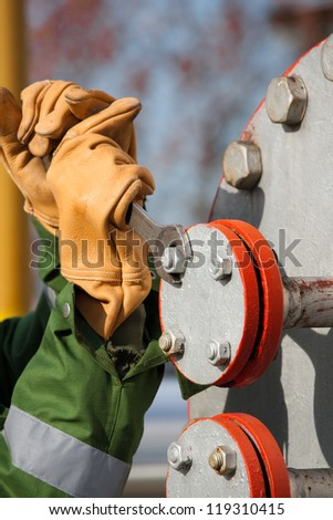 The worker of the gas refinery