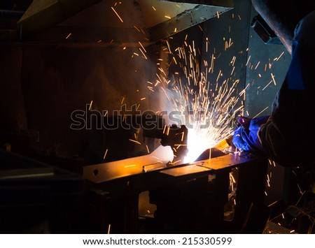 The working in Welding skill up  use in product part automotiv - stock photo