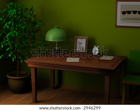 The working table of writer with  paper  photoframework and an alarm clock in corner stands domestic tree