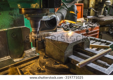 the workpiece is machined on a lathe - stock photo