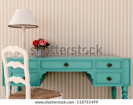 The workplace of the classic blue desk and white chair - stock photo