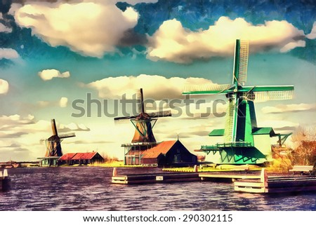 The works in the style of watercolor painting. Traditional Dutch windmills from the channel Rotterdam. Holland - stock photo