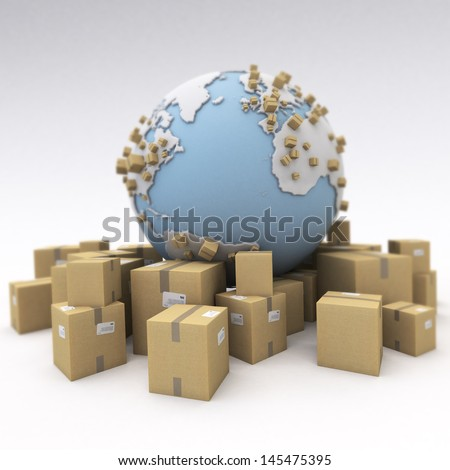 The world and lots of packages - stock photo