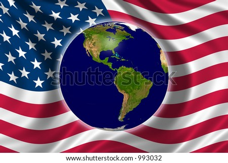 The world and the US - stock photo