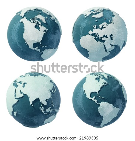 The World at the time of Ice Age/ Ice Christmas Globe