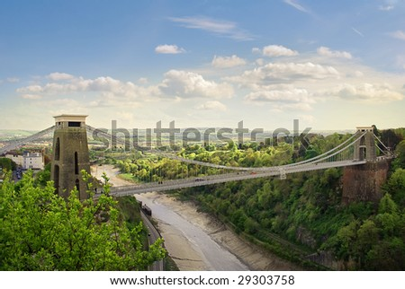 The World Famous Clifton Suspension Bridge, situated in Bristol, UK. - stock photo