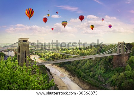 The World Famous Clifton Suspension Bridge, situated in Bristol, UK.During the annual balloon fiesta. - stock photo