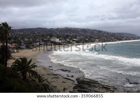 The World Famous, Laguna Beach is a seaside resort city located in southern Orange County, California, United States. During the El Nino Storms of 2016 - stock photo