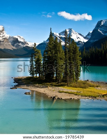 The world famous, Spirit Island, in Jasper National Park - stock photo