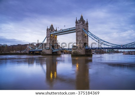 The world famous Tower Bridge in the morning - London, UK - stock photo