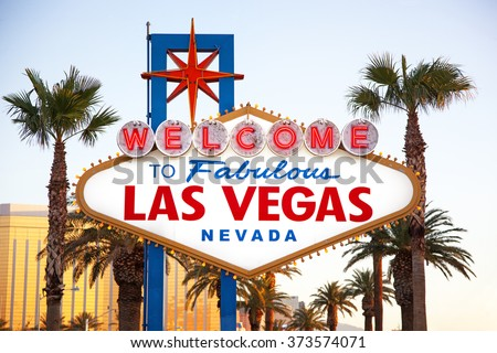 The world famous Welcome to Las Vegas sign in early morning light. The Strip, Las Vegas, USA - stock photo