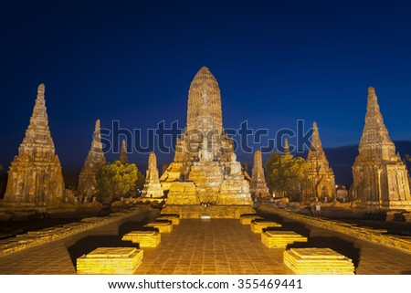 The world heritage Ayutthaya site, Thailand, Landscape of Pagoda at Wat Phasisanphet Ayuthaya Twilight Time